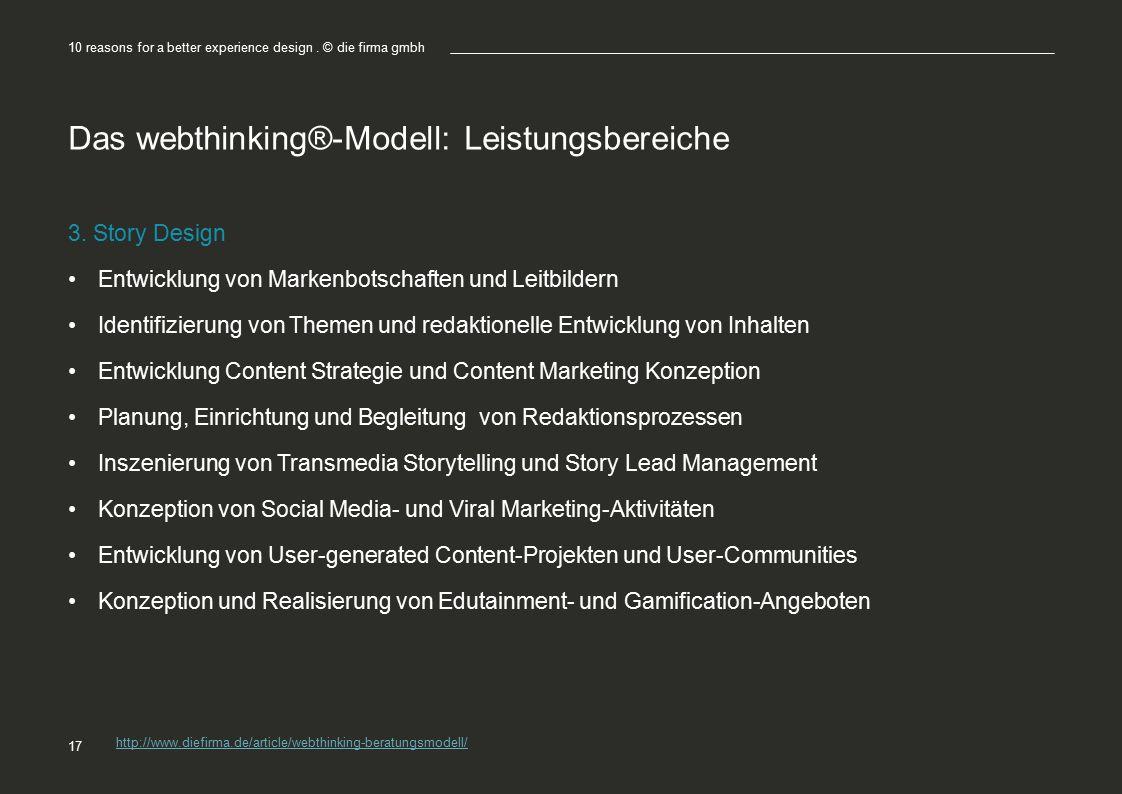 Das webthinking®-Modell: Leistungsbereiche 3. Story Design Entwicklung von Markenbotschaften und Leitbildern Identifizierung von Themen und redaktione