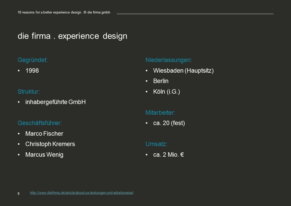 die firma. experience design Gegründet: 1998 Struktur: inhabergeführte GmbH Geschäftsführer: Marco Fischer Christoph Kremers Marcus Wenig Niederlassun