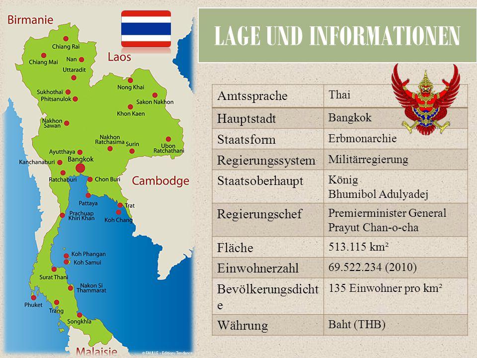 LAGE UND INFORMATIONEN Amtssprache Thai Hauptstadt Bangkok Staatsform Erbmonarchie Regierungssystem Militärregierung Staatsoberhaupt König Bhumibol Ad
