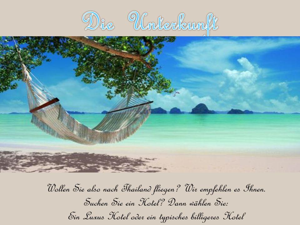 Wollen Sie also nach Thailand fliegen? Wir empfehlen es Ihnen. Suchen Sie ein Hotel? Dann wählen Sie: Ein Luxus Hotel oder ein typisches billigeres Ho