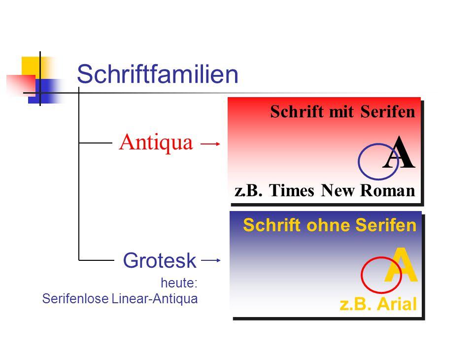 Schriftfamilien Antiqua Grotesk Antiqua Grotesk Schrift mit Serifen A z.B. Times New Roman Schrift mit Serifen A z.B. Times New Roman Schrift ohne Ser