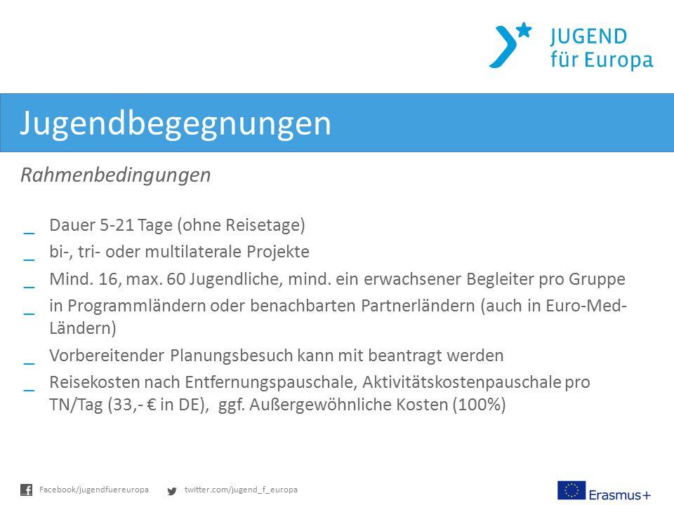 twitter.com/jugend_f_europaFacebook/jugendfuereuropa Jugendbegegnungen Rahmenbedingungen _Dauer 5-21 Tage (ohne Reisetage) _bi-, tri- oder multilatera