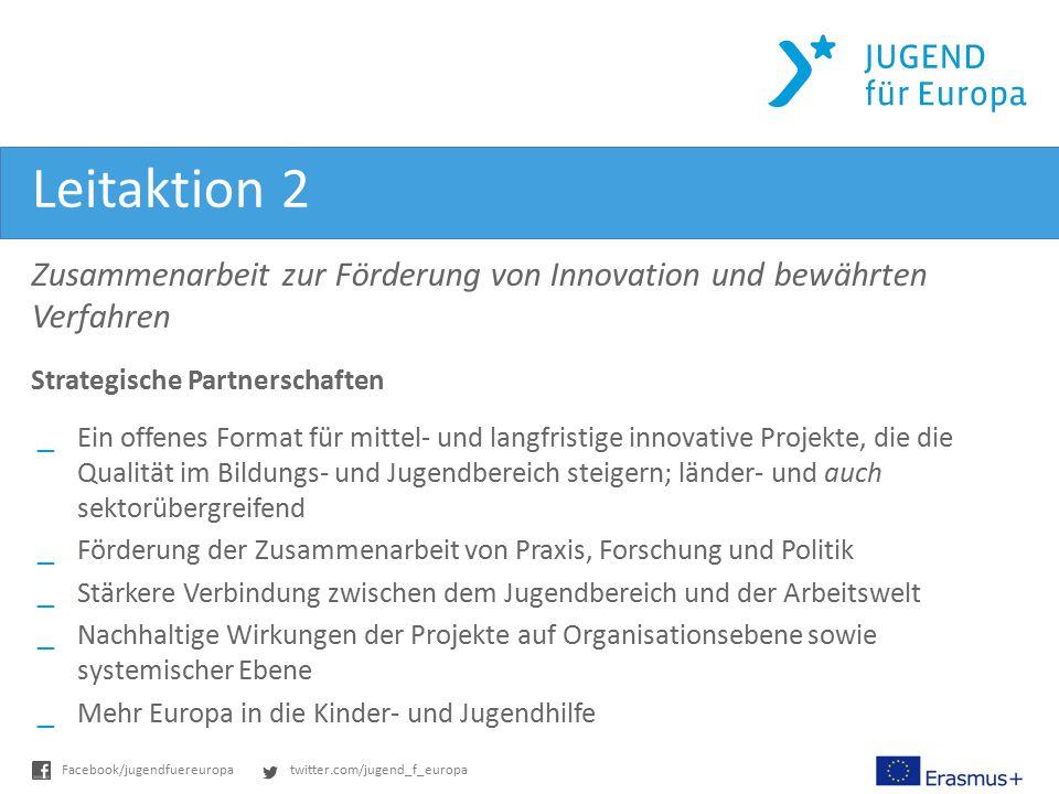 twitter.com/jugend_f_europaFacebook/jugendfuereuropa Leitaktion 2 Zusammenarbeit zur Förderung von Innovation und bewährten Verfahren Strategische Par