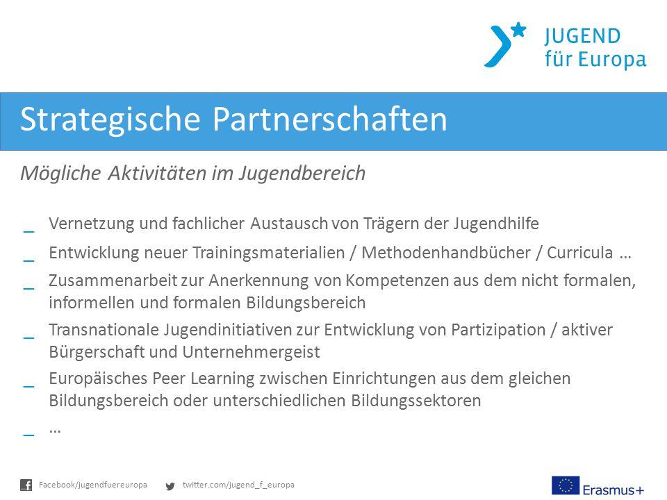twitter.com/jugend_f_europaFacebook/jugendfuereuropa Strategische Partnerschaften Mögliche Aktivitäten im Jugendbereich _Vernetzung und fachlicher Aus