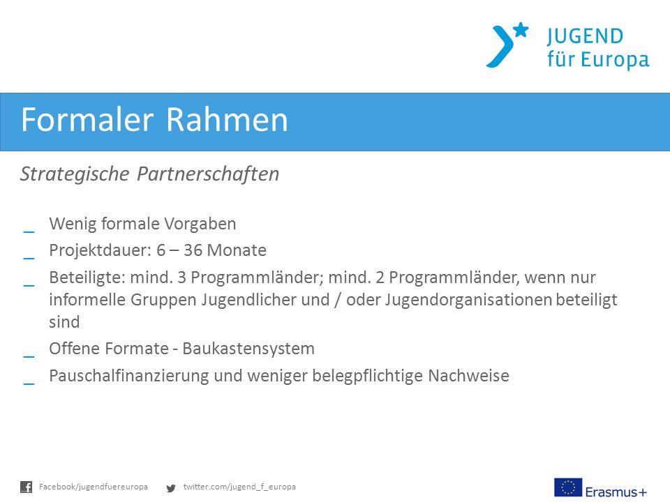 twitter.com/jugend_f_europaFacebook/jugendfuereuropa Formaler Rahmen Strategische Partnerschaften _Wenig formale Vorgaben _Projektdauer: 6 – 36 Monate