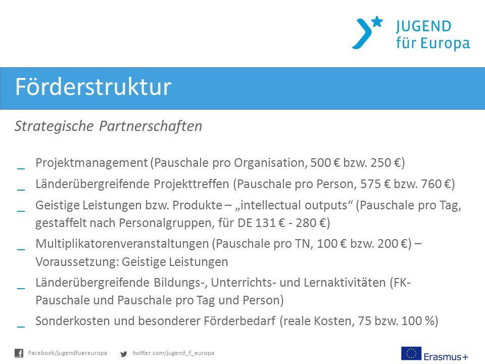 twitter.com/jugend_f_europaFacebook/jugendfuereuropa Förderstruktur Strategische Partnerschaften _Projektmanagement (Pauschale pro Organisation, 500 € bzw.