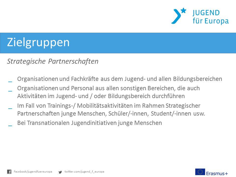 twitter.com/jugend_f_europaFacebook/jugendfuereuropa Zielgruppen Strategische Partnerschaften _Organisationen und Fachkräfte aus dem Jugend- und allen