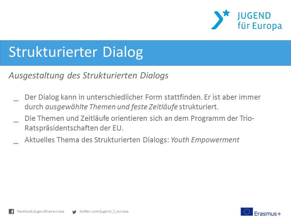 twitter.com/jugend_f_europaFacebook/jugendfuereuropa Strukturierter Dialog Ausgestaltung des Strukturierten Dialogs _ Der Dialog kann in unterschiedli