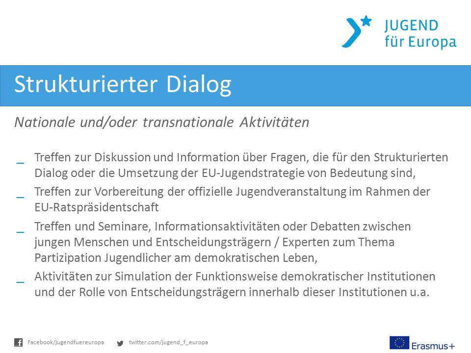 twitter.com/jugend_f_europaFacebook/jugendfuereuropa Strukturierter Dialog Nationale und/oder transnationale Aktivitäten _Treffen zur Diskussion und I