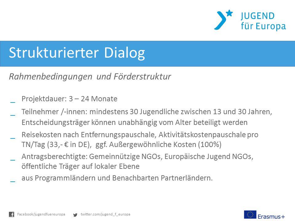 twitter.com/jugend_f_europaFacebook/jugendfuereuropa Strukturierter Dialog Rahmenbedingungen und Förderstruktur _Projektdauer: 3 – 24 Monate _Teilnehmer /-innen: mindestens 30 Jugendliche zwischen 13 und 30 Jahren, Entscheidungsträger können unabhängig vom Alter beteiligt werden _Reisekosten nach Entfernungspauschale, Aktivitätskostenpauschale pro TN/Tag (33,- € in DE), ggf.