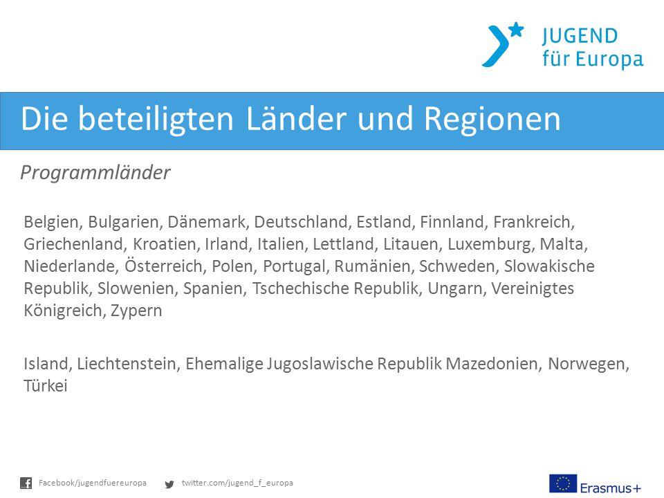twitter.com/jugend_f_europaFacebook/jugendfuereuropa Die beteiligten Länder und Regionen Programmländer Belgien, Bulgarien, Dänemark, Deutschland, Est