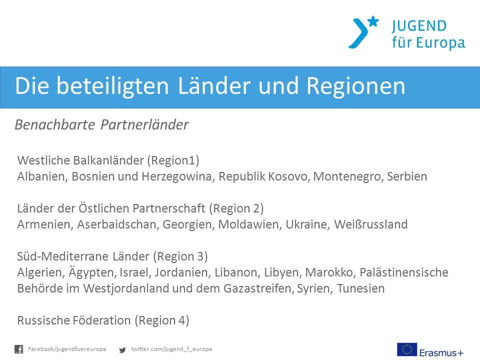 twitter.com/jugend_f_europaFacebook/jugendfuereuropa Die beteiligten Länder und Regionen Benachbarte Partnerländer Westliche Balkanländer (Region1) Al