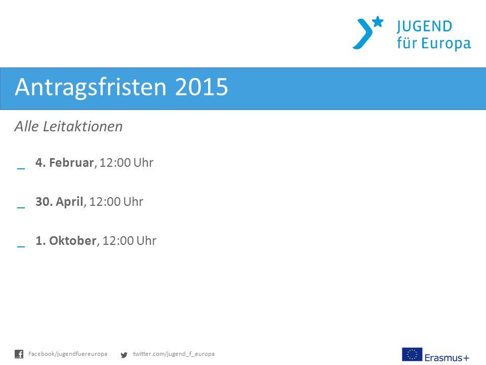 twitter.com/jugend_f_europaFacebook/jugendfuereuropa Antragsfristen 2015 Alle Leitaktionen _4. Februar, 12:00 Uhr _30. April, 12:00 Uhr _1. Oktober, 1