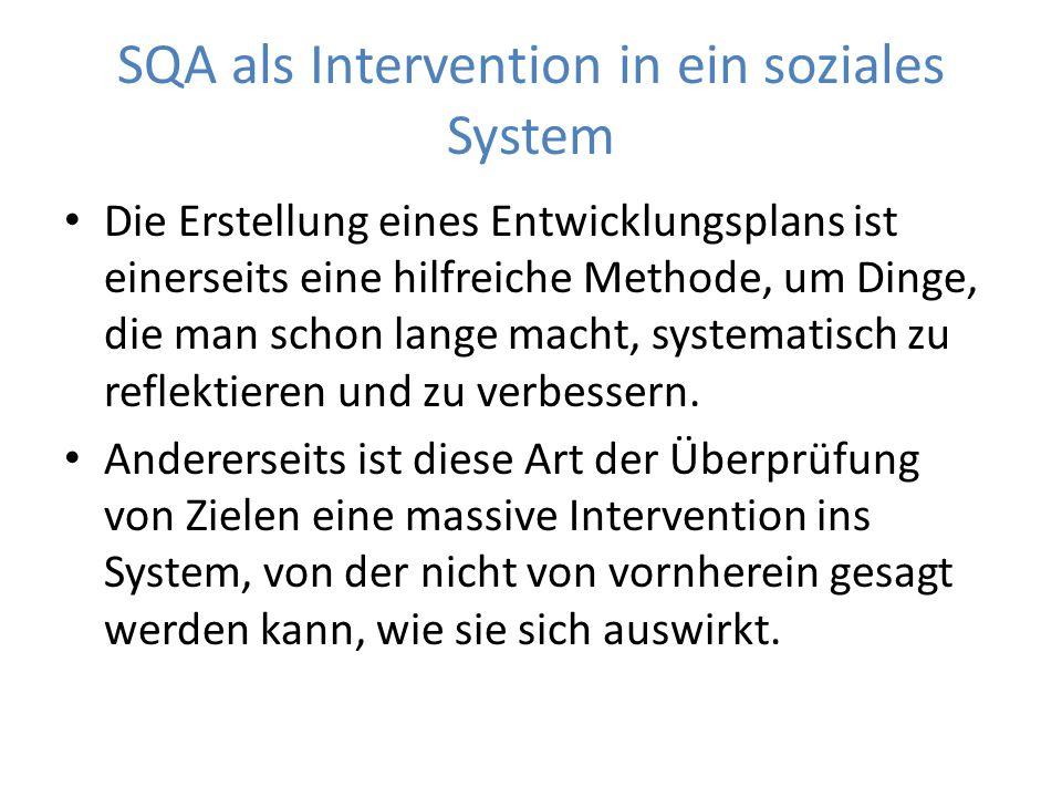 SQA als Intervention in ein soziales System Die Erstellung eines Entwicklungsplans ist einerseits eine hilfreiche Methode, um Dinge, die man schon lange macht, systematisch zu reflektieren und zu verbessern.