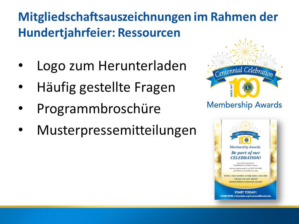 Mitgliedschaftsauszeichnungen im Rahmen der Hundertjahrfeier: Ressourcen Logo zum Herunterladen Häufig gestellte Fragen Programmbroschüre Musterpressemitteilungen