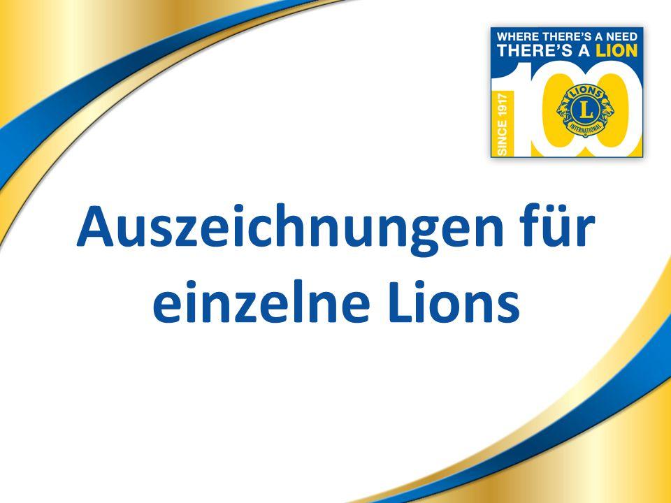 17 Lions Club Auszeichnungen 17 World Class Centennial Lions Club Ein Lions Club, der in jedem der Geschäftsjahre des Centennial Auszeichnungsprogramms mindestens drei (3) Neue Mitglieder einführt, einen neuen Lions Clubs während mindestens einem der Geschäftsjahre des Centennial Auszeichnungsprogramms sponsert.