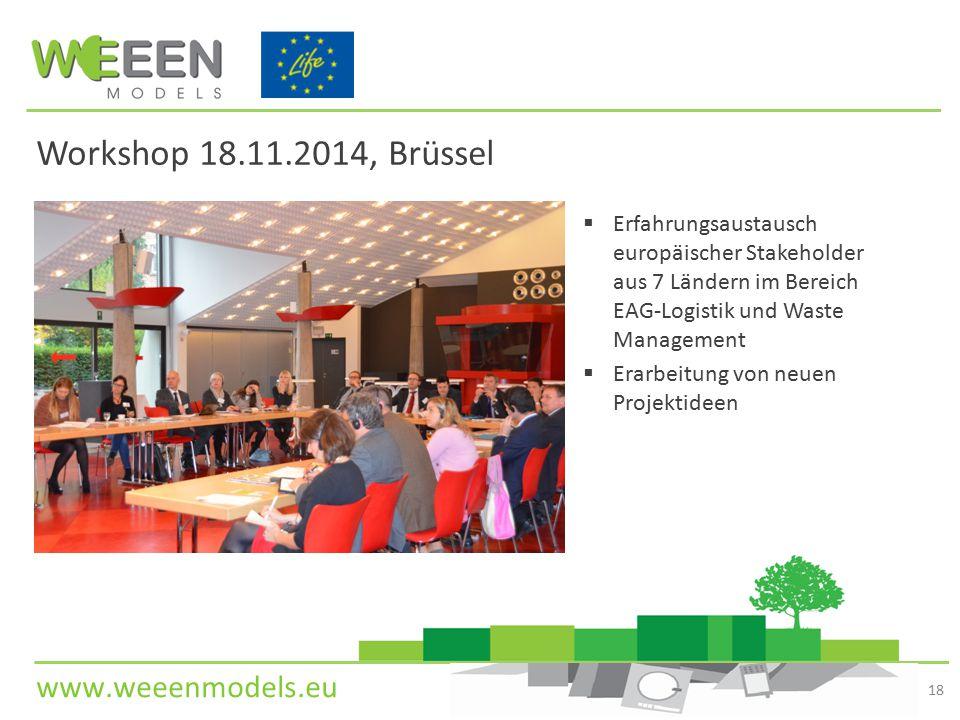 www.weeenmodels.eu Workshop 18.11.2014, Brüssel  Erfahrungsaustausch europäischer Stakeholder aus 7 Ländern im Bereich EAG-Logistik und Waste Managem