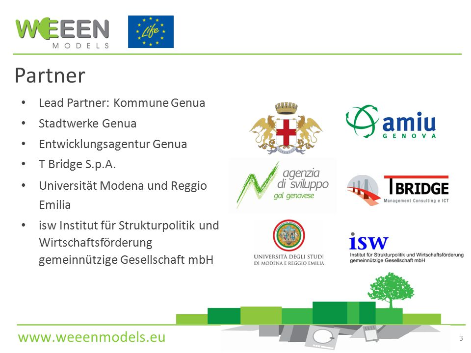 www.weeenmodels.eu Partner Lead Partner: Kommune Genua Stadtwerke Genua Entwicklungsagentur Genua T Bridge S.p.A. Universität Modena und Reggio Emilia