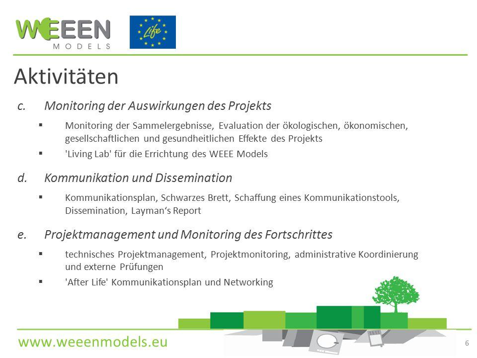 www.weeenmodels.eu c.Monitoring der Auswirkungen des Projekts  Monitoring der Sammelergebnisse, Evaluation der ökologischen, ökonomischen, gesellscha