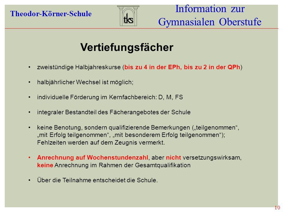 10 Information zur Gymnasialen Oberstufe Theodor-Körner-Schule 10 VERTIEFUNGSFÄC HER zweistündige Halbjahreskurse (bis zu 4 in der EPh, bis zu 2 in de
