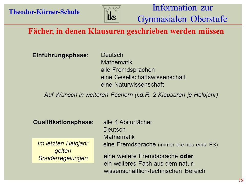 19 Information zur Gymnasialen Oberstufe Theodor-Körner-Schule Fächer, in denen Klausuren geschrieben werden müssen 19 KLAUSUREN Deutsch Mathematik al