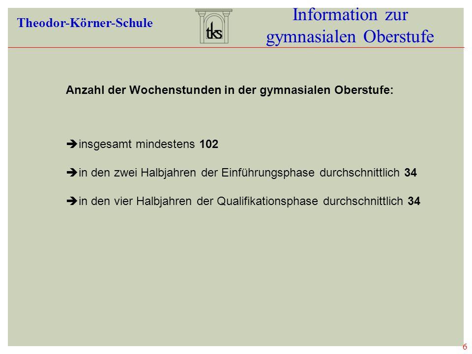 6 Information zur gymnasialen Oberstufe Theodor-Körner-Schule 06 WOCHENSTUND EN  insgesamt mindestens 102  in den zwei Halbjahren der Einführungsphase durchschnittlich 34  in den vier Halbjahren der Qualifikationsphase durchschnittlich 34 Anzahl der Wochenstunden in der gymnasialen Oberstufe: