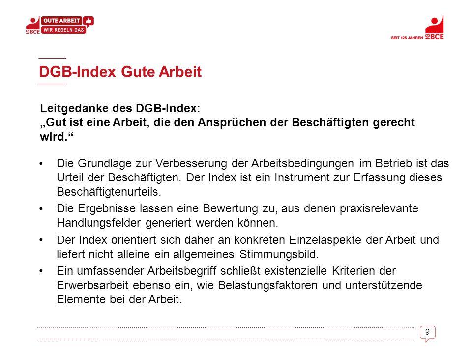 """9 DGB-Index Gute Arbeit Leitgedanke des DGB-Index: """"Gut ist eine Arbeit, die den Ansprüchen der Beschäftigten gerecht wird."""" Die Grundlage zur Verbess"""