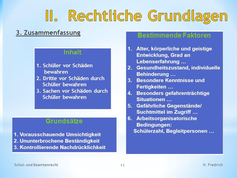 3.Zusammenfassung Schul- und Beamtenrecht 11 H. Fredrich Inhalt 1.