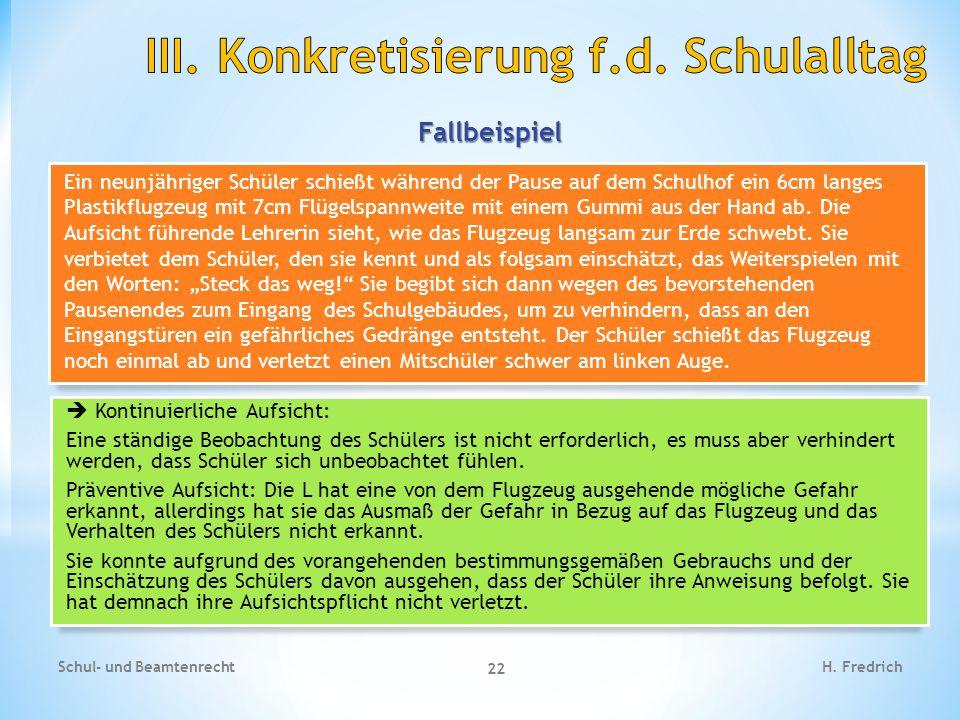 Fallbeispiel Schul- und Beamtenrecht 22 H.