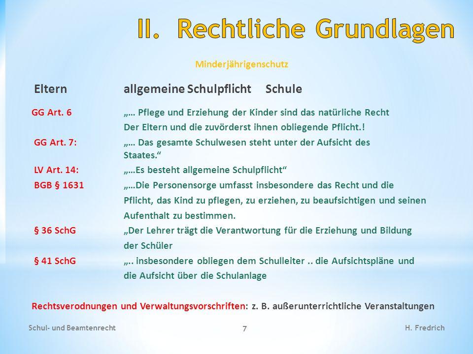 Minderjährigenschutz Elternallgemeine SchulpflichtSchule GG Art.