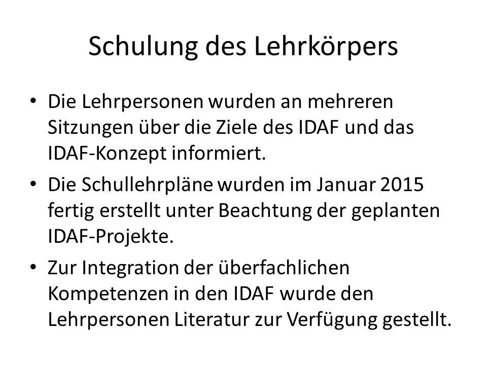 Schulung des Lehrkörpers Die Lehrpersonen wurden an mehreren Sitzungen über die Ziele des IDAF und das IDAF-Konzept informiert.