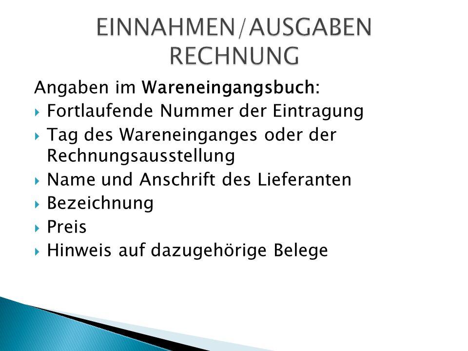 Angaben im Wareneingangsbuch:  Fortlaufende Nummer der Eintragung  Tag des Wareneinganges oder der Rechnungsausstellung  Name und Anschrift des Lie