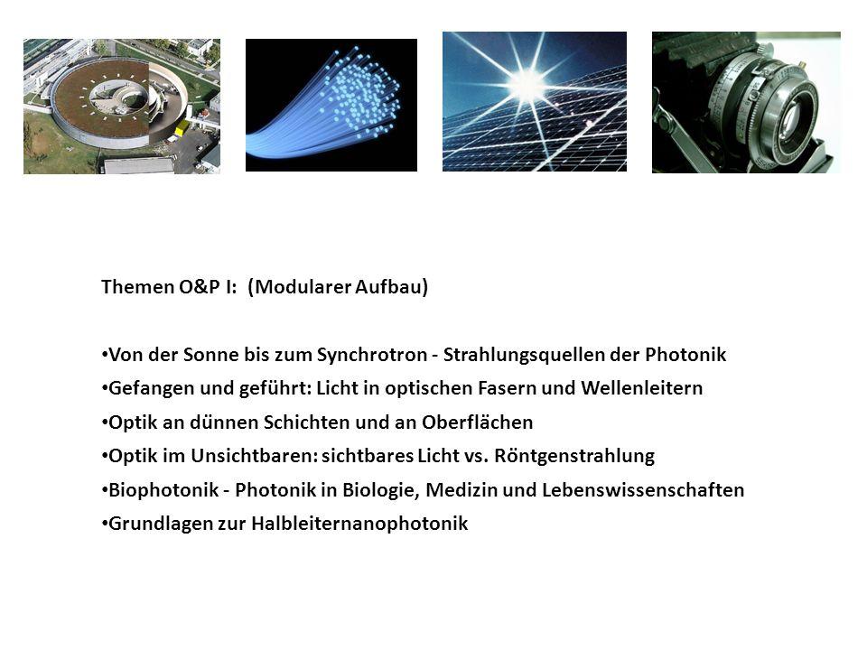 Themen O&P I: (Modularer Aufbau) Von der Sonne bis zum Synchrotron - Strahlungsquellen der Photonik Gefangen und geführt: Licht in optischen Fasern un