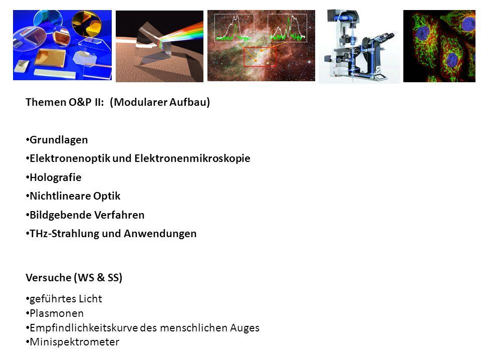 Themen O&P II: (Modularer Aufbau) Grundlagen Elektronenoptik und Elektronenmikroskopie Holografie Nichtlineare Optik Bildgebende Verfahren THz‐Strahlu