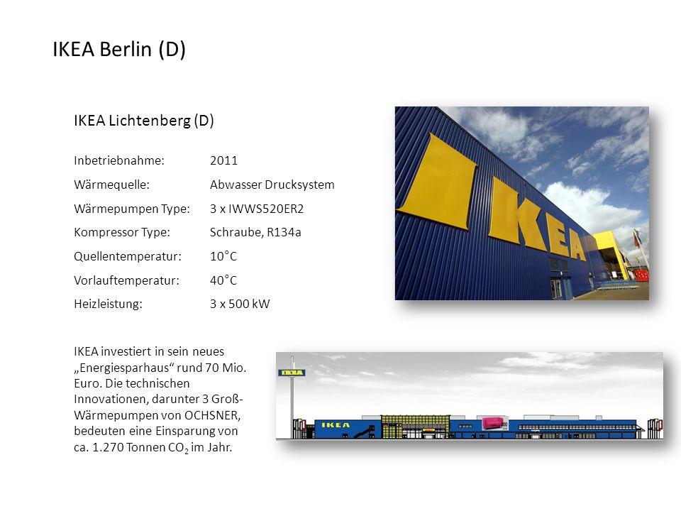 """IKEA Lichtenberg (D) Inbetriebnahme:2011 Wärmequelle:Abwasser Drucksystem Wärmepumpen Type: 3 x IWWS520ER2 Kompressor Type:Schraube, R134a Quellentemperatur:10°C Vorlauftemperatur: 40°C Heizleistung:3 x 500 kW IKEA investiert in sein neues """"Energiesparhaus rund 70 Mio."""