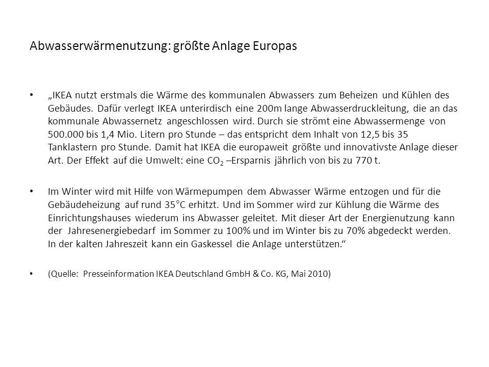 """Abwasserwärmenutzung: größte Anlage Europas """"IKEA nutzt erstmals die Wärme des kommunalen Abwassers zum Beheizen und Kühlen des Gebäudes."""