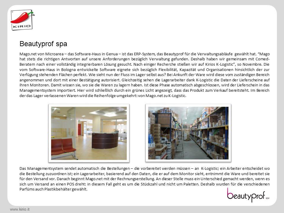 www.kirio.it Mago.net von Microarea – das Software-Haus in Genua – ist das ERP-System, das Beautyprof für die Verwaltungsabläufe gewählt hat.