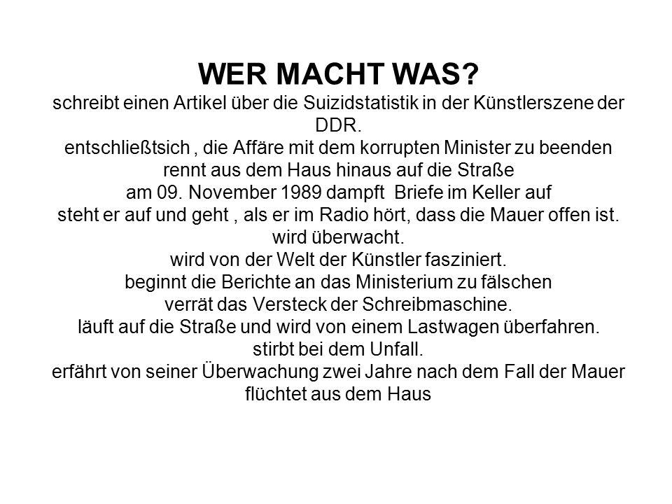 WER MACHT WAS.schreibt einen Artikel über die Suizidstatistik in der Künstlerszene der DDR.