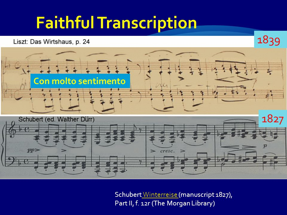 Schubert Winterreise (manuscript 1827), Winterreise Part II, f. 12r (The Morgan Library) Faithful Transcription Con molto sentimento 1827 1839