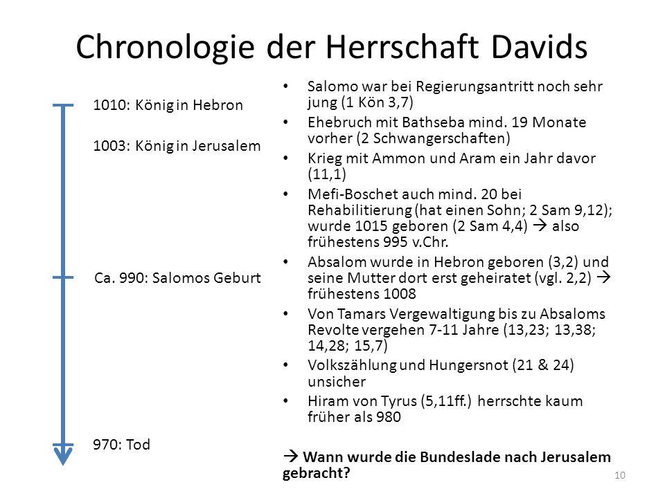 Chronologie der Herrschaft Davids Salomo war bei Regierungsantritt noch sehr jung (1 Kön 3,7) Ehebruch mit Bathseba mind. 19 Monate vorher (2 Schwange