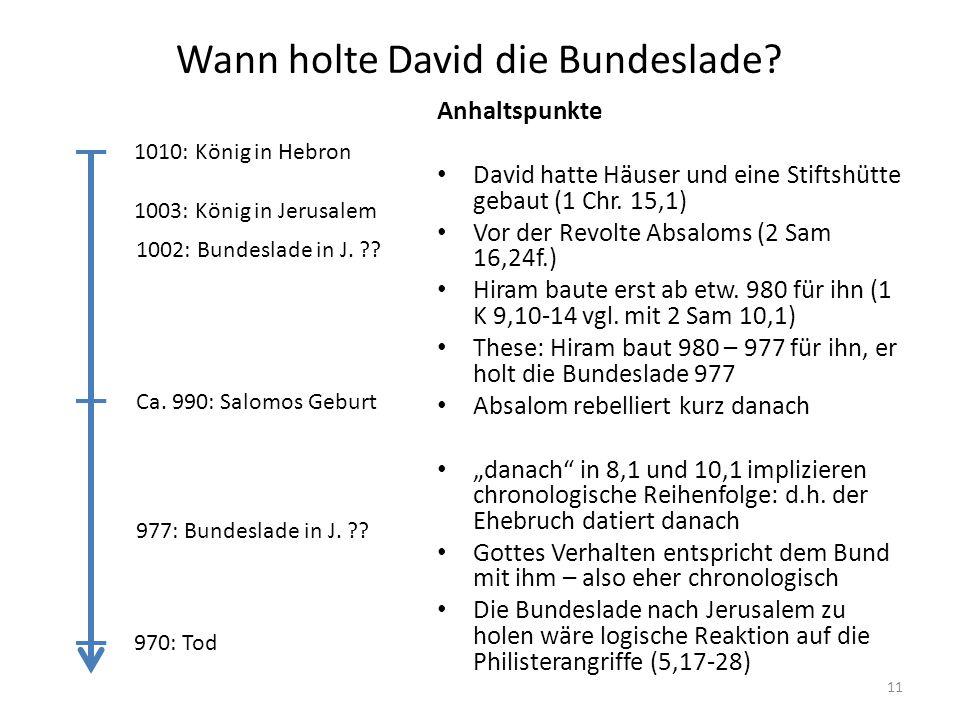 Wann holte David die Bundeslade? Anhaltspunkte David hatte Häuser und eine Stiftshütte gebaut (1 Chr. 15,1) Vor der Revolte Absaloms (2 Sam 16,24f.) H