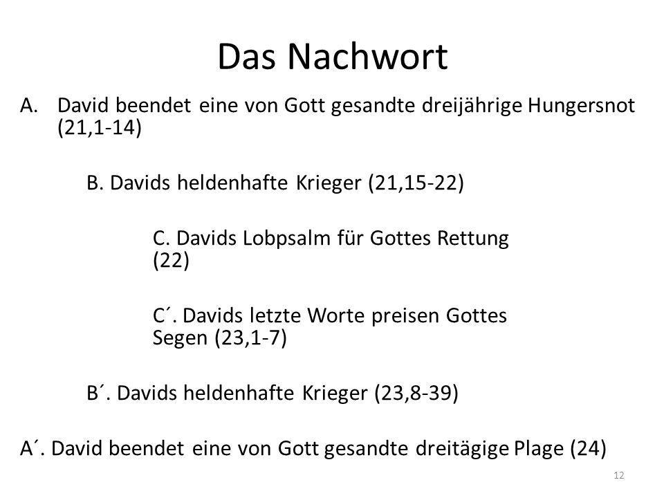 Das Nachwort A.David beendet eine von Gott gesandte dreijährige Hungersnot (21,1-14) B. Davids heldenhafte Krieger (21,15-22) C. Davids Lobpsalm für G