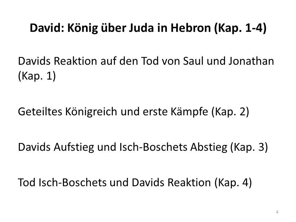 David: König über Juda in Hebron (Kap. 1-4) Davids Reaktion auf den Tod von Saul und Jonathan (Kap. 1) Geteiltes Königreich und erste Kämpfe (Kap. 2)
