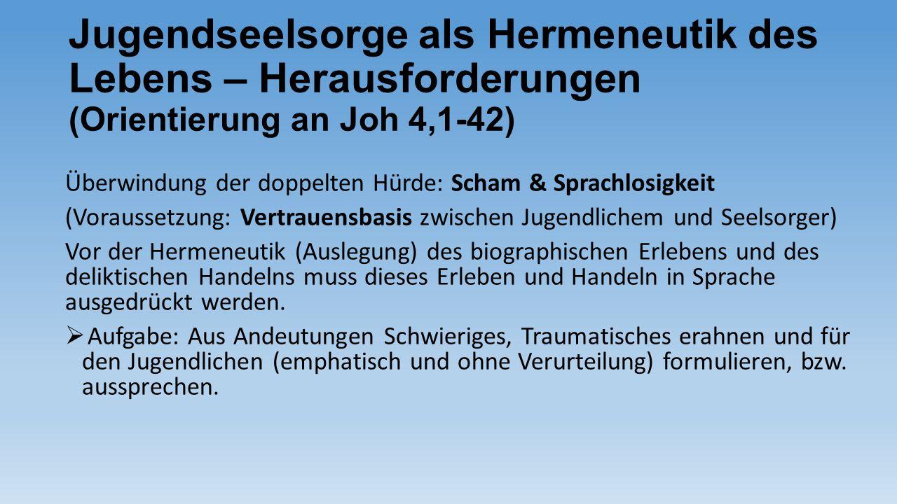 Jugendseelsorge als Hermeneutik des Lebens – Herausforderungen (Orientierung an Joh 4,1-42) Überwindung der doppelten Hürde: Scham & Sprachlosigkeit (