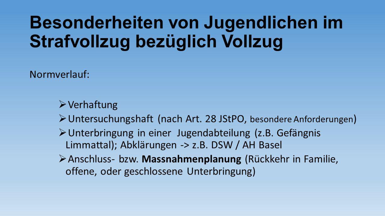 Besonderheiten von Jugendlichen im Strafvollzug bezüglich Vollzug Normverlauf:  Verhaftung  Untersuchungshaft (nach Art. 28 JStPO, besondere Anforde
