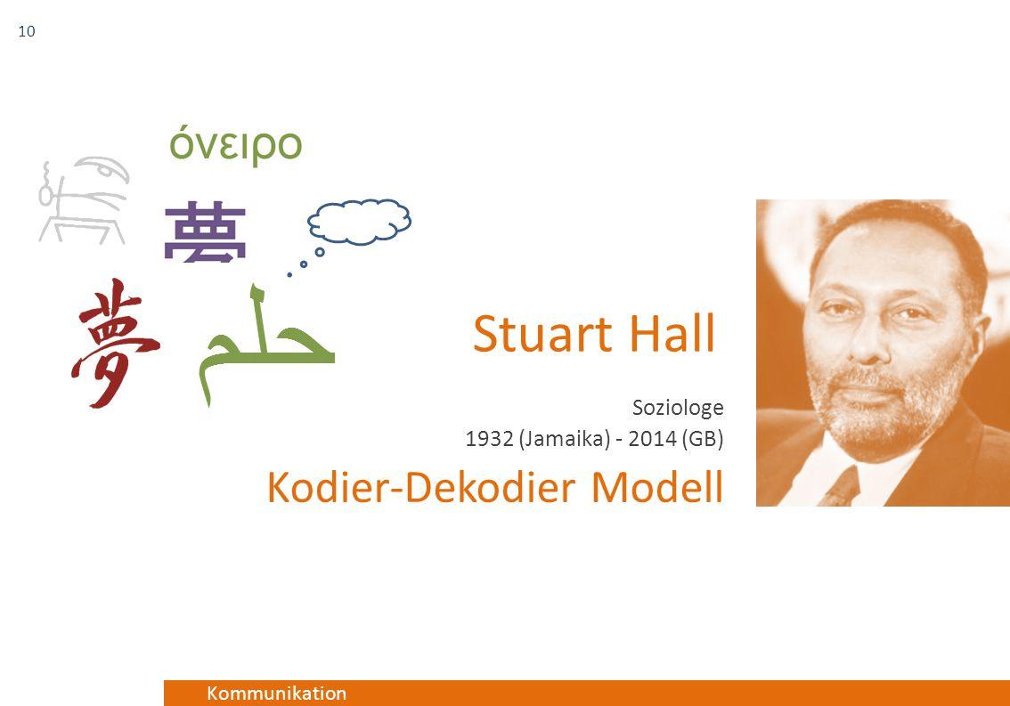 Kommunikation Stuart Hall Soziologe 1932 (Jamaika) - 2014 (GB) Kodier-Dekodier Modell 10