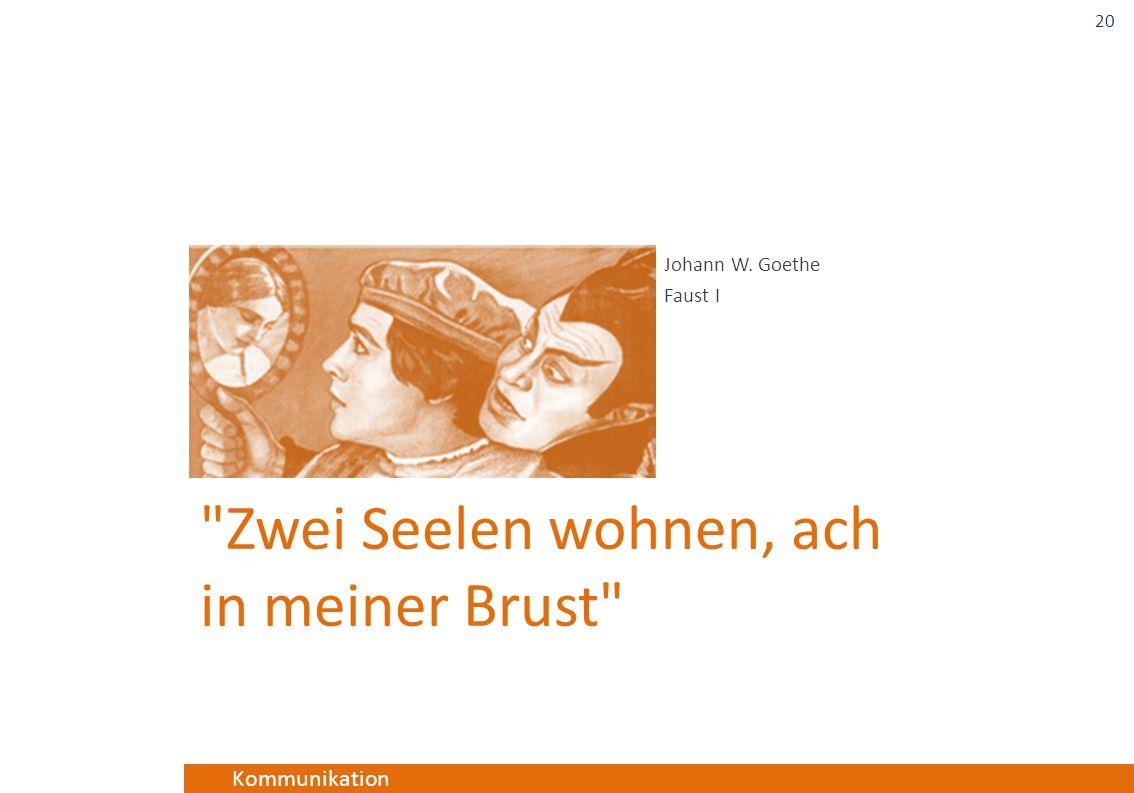 Kommunikation Zwei Seelen wohnen, ach in meiner Brust Johann W. Goethe Faust I 20