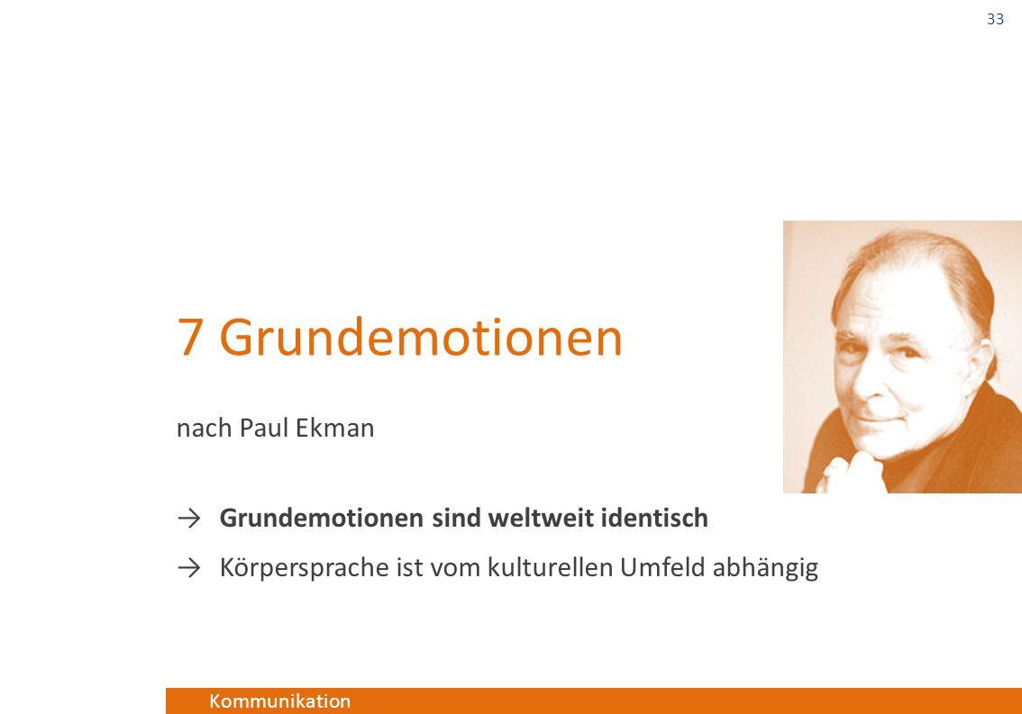 Kommunikation 7 Grundemotionen nach Paul Ekman →Grundemotionen sind weltweit identisch →Körpersprache ist vom kulturellen Umfeld abhängig 33