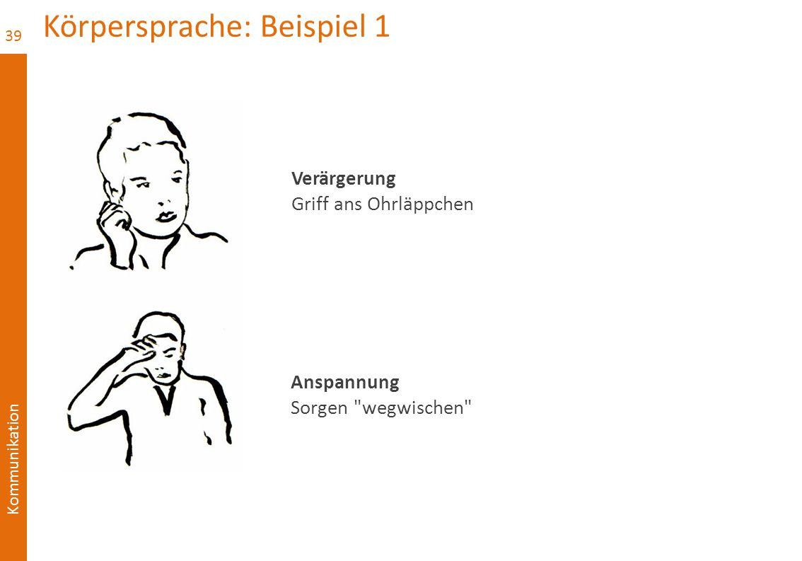 Kommunikation Körpersprache: Beispiel 1 39 Verärgerung Griff ans Ohrläppchen Anspannung Sorgen wegwischen