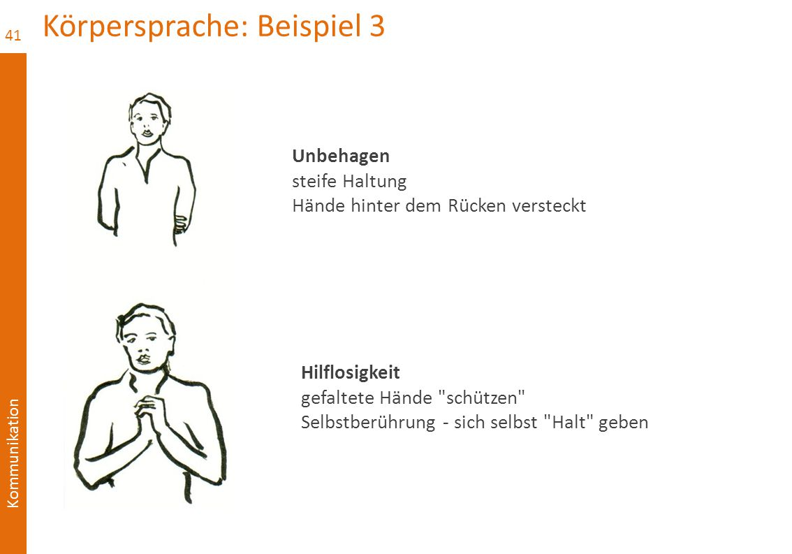 Kommunikation Körpersprache: Beispiel 3 41 Unbehagen steife Haltung Hände hinter dem Rücken versteckt Hilflosigkeit gefaltete Hände schützen Selbstberührung - sich selbst Halt geben
